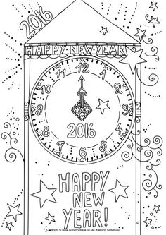 2016 new year clock colouring page