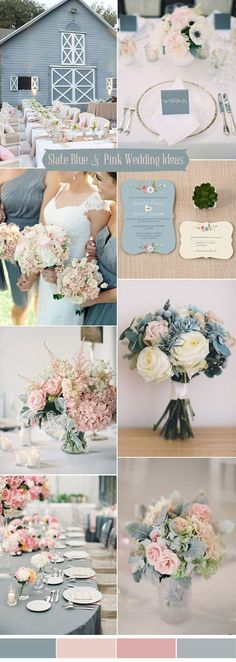 slate blue and blush pink wedding colors ideas #PinkWeddingIdeas