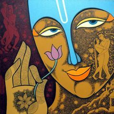 Choose your favorite krishna paintings from millions of available designs. All krishna paintings ship within 48 hours and include a money-back guarantee. Buddha Painting, Krishna Painting, Henri Matisse, Arte Krishna, Lord Krishna, Indiana, Graffiti, Mandala, Cubism Art