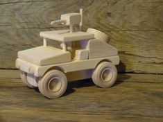 Handmade original design wood toy humvee. 7 1/2 inches long and 3 3/4 inches wide, wheels all turn and gun turns 360 degrees. Made from pine,