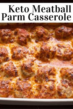 Meatball Parmesan - Low Carb, Keto, Grain-Free, Gluten-Free, THM S - - If you need a new family dinner this should be it. Flavorful meatballs baked until golden & then co - Keto Meatballs, Parmesan Meatballs, Gluten Free Meatballs, Low Carb Keto, Low Carb Recipes, Diet Recipes, Easy Keto Recipes, Cheap Recipes, Jelly Recipes