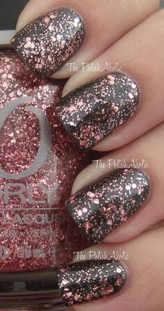 Charcoal and pink sparkle