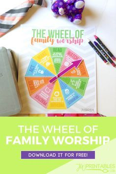 This wheel of family worship is a colorful way to decide what your family worship activity (or activities) will be for the day! #jw #jworg #jwfamilyworship