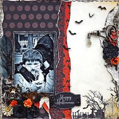 Scraps of Darkness scrapbook kits: Laura Gilhuly created this eerily fabulous Halloween layout with the Authentique Moonlit papers in our our Oct. Danse Macabre kit. Find our kits at www.scrapsofdarkness.com