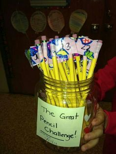 The Great Pencil Challenge! The last person who doesn't lose their pencil will win a prize. It's a great way to make pencils last a little longer and teach kids to keep track of their stuff.