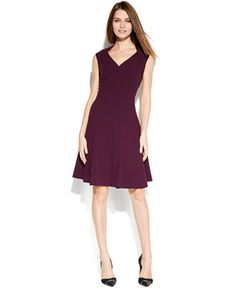 Calvin Klein Cap-Sleeve Fit & Flare Dress - Dresses - Women - Macy's