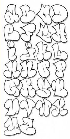 Graffiti Alphabet A-Z Alfabeto Graffiti Throw Up Graffiti . 3d Alphabet, Alphabet Design, Alphabet Coloring, Doodle Alphabet, Alphabet Blocks, Hip Hop Graffiti, Graffiti Tagging, Street Graffiti, Street Art