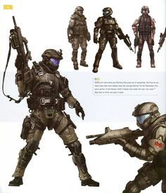 This is an ODST from Halo. What I like from this character is how their armour is very light, allowing them to sustain heavy damage, whilst maintaining the versatility of a armour-less human. I could implement this feature into my boss, as he coud sustain Game Character, Character Concept, Character Design, Armor Concept, Concept Art, Cyberpunk, Odst Halo, Science Fiction, Halo Armor