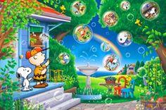 ◆希少品◆300ピースジグソーパズル:スヌーピー シャボン玉の想い出《廃番商品》 - 組絵門(くみえもん)