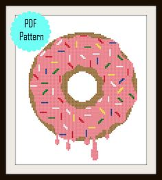 Modern Cross Stitch Chart PDF Pattern  Donut by StephanieXStitches