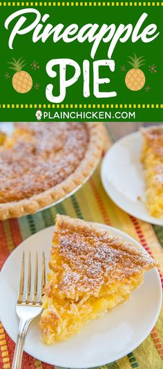 Pineapple Pie – Pineapple Coconut Chess Pie – so easy and it tastes fantastic! Great for parties and potlucks! Pineapple Cream Pie Recipe, Pineapple Pie, Pineapple Coconut, Crushed Pineapple, Asian Desserts, Sweet Desserts, No Bake Desserts, Just Desserts, Pie Recipes