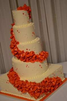 5 tiers with a coral/burnt orange fondant ruffle cascade. Fondant Ruffles, Burnt Orange, Wedding Cakes, Dream Wedding, Coral, Desserts, Food, Wedding Gown Cakes, Tailgate Desserts