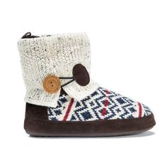 Multicolored diamond pattern cable knit slipper bootie with a solid cream knit upper and a decorative button accent.