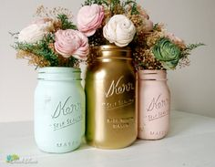 Mint, Blush And Gold Spring And Summer Wedding Decorations - Decor - Vase…