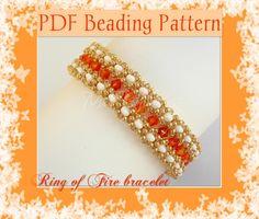 Free Patterns Using SuperDuos   Beading pattern Ring of Fire bracelet Pattern