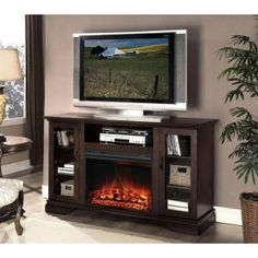I want!! Hampton Bay Asbury 57 in. Media Console Electric Fireplace in Espresso-MTVS2500SE at The Home Depot