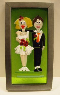 glasbillede med brudepar - Glaskunst