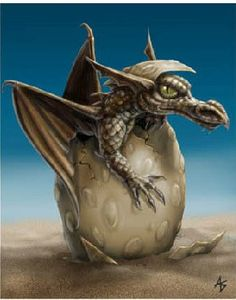 "Hatchling by Anne Stokes. He looks like he's saying, ""screw you world, drag me out of me nice little lair and you will pay WITH FIRE!"""