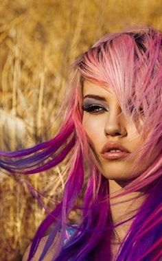 pink and purple hair - maybe I should do this on my 60th bday a (few years away).  But I would have to do it with temporary hair color