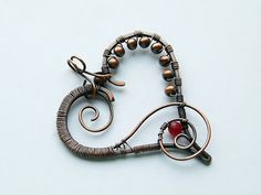 Copper wire wrapped heart pendant with red jade by DeFactoryshop, zł40.00