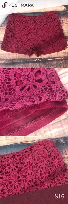 5/$25 🌞 Burgundy Crochet Lace Shorts Beautiful wine colored Lacey shorts! Floral crochet pattern with full lining. Elastic waist. Unstretched across the waist they measure approximately 16.5 inches and waist band is stretchy. Fits true to juniors large. No stains tears or rips, great condition Shorts