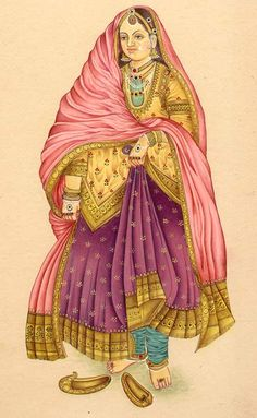 Mughal Dynasty The Lady in Traditional Medieval Costume