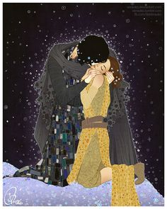 """A Star Wars/Gustav Klimt crossover. Kylo Ren and Rey as the couple in """"The Kiss"""" Art by Natalia Trykowska"""