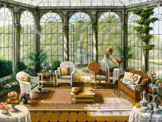 Victorian Sunroom - Other & Abstract Background Wallpapers on Desktop Nexus (Image Victorian Art, Victorian Homes, Victorian Conservatory, Victorian Windows, Solarium, Murals Your Way, Beautiful Architecture, Beautiful Paintings, Art Pictures