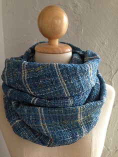 Handwoven scarf shawl in indigo blue with by cottonandloom on Etsy, $46.00