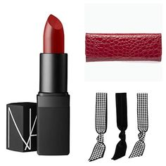 The Woman in Red: 'Croco Clutch' #NARS 'Shanghai Express' #Emi-Jay 'Houndstooth Hair Ties' #SondraRoberts #SondraRobertsNY #SondraRobertsNewYork