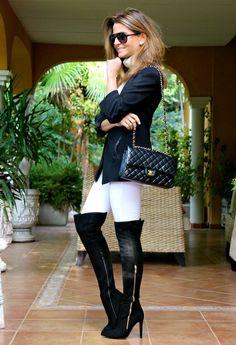 Fashion and Style Blog / Blog de Moda . Post: My new Pilar Burgos boots / Mis nuevas botas mosqueteras de Pilar Burgos .More pictures on/ Más fotos en : http://www.ohmylooks.com/?p=24209 .Llevo/I wear:  Jersey : Stradivarius (New collection) ; Jacket : Zara ; Bag/Bolso : Chanel ; Sunglasses/Gafas de sol : Michael Kors ; Boots/Botas : Pilar Burgos (New collection)