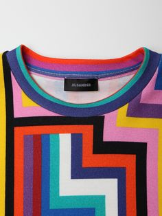 Jil Sander Men's Geometric Striped T-Shirt in multi at oki-ni