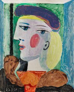 PABLO PICASSO (1881-1973) Femme au béret mauve 16 1/8 x 13 in (41 x 33 cm) (Painted on March 27, 1937) Portrait Picasso, Pablo Picasso Artwork, Picasso Paintings, Mauve, Costume Vert, Francoise Gilot, Ballet Russe, Dora, Guernica