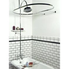 The Gooseneck Clawfoot Tub Shower Conversion Kit is the complete setup that you need to add a shower to your bathtub. Completely made of durable solid brass, this kit features an elegant gooseneck tub faucet and an overhead watering can shower head.