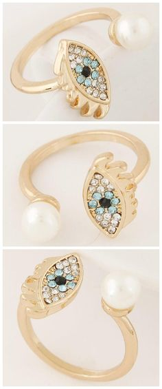 Rhinestone Embellished Eyebrow Open-end Fashion Ring
