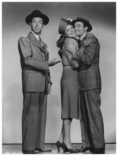 """Gene Kelly, Rita Hayworth and Phil Silvers in a Studio publicity photo for """"Cover Girl"""" (Columbia Pictures, Old Movies, Vintage Movies, Vintage Hollywood, Classic Hollywood, I Movie, Movie Stars, Comedy Tonight, Famous Duos, Donald O'connor"""