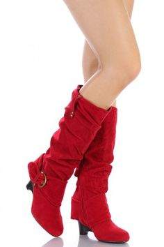 knee-high red low heeled boots