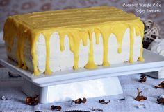 Mango Curd and Coconut Vanilla Cake Mango Curd, Butter Dish, Beautiful Cakes, Vanilla Cake, Delicious Desserts, Deserts, Coconut, Sweets, Candy