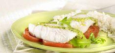 Cabillaud au pesto à la roquette Olives, Calories, Mozzarella, Sushi, Seafood, Grains, Tacos, Rice, Ethnic Recipes