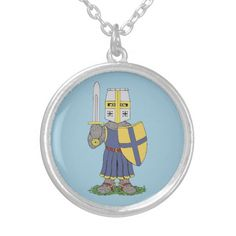 Cute Medieval Knight Round Pendant Necklace