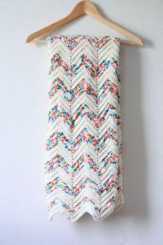 30% OFF SALE Vintage chevron crochet blanket // by BeigeVintageCo