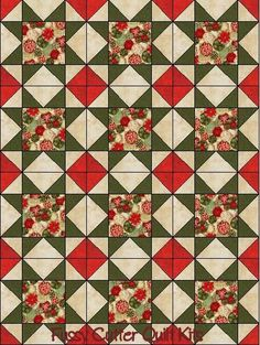Christmas Holiday Tree Ornaments Red Green Gold Fabric Easy Star Pre-Cut Quilt Blocks Top Kit
