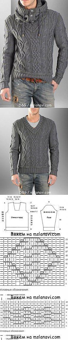 Мужской пуловер спицами от D&G | Вяжем с Ланой