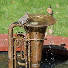 Old Tuba Water Fountain _ Water features are much more than just ponds and can turn anyone's property into a relaxing oasis. Water gardens, decorative fountains, pondless waterfalls and ecosystem ponds are all possibilities for your yard. By utilizing one Outdoor Projects, Garden Projects, Metal Projects, Diy Projects, Project Ideas, Furniture Projects, Outdoor Ideas, Bird Fountain, Fountain Ideas