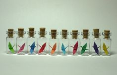 miniature origami paper crane glass bottle vial necklace, can use as wedding favor, event, party, baby shower gift  //sale//. $18.00, via Etsy.