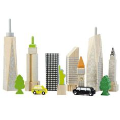 City Skyline rubberwood block set that glows in the dark! {skyscrapers, NYC taxi, the Statue of Liberty} from Wonderworld