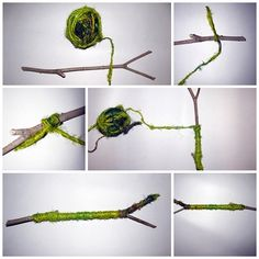 sari silk yarn wrapped branch DIY simple and fast unique decoration - by mibőlkössek? Sari Silk, What To Make, Yarns, Bobby Pins, Something To Do, Hair Accessories, Banana, Nursery, Tutorials
