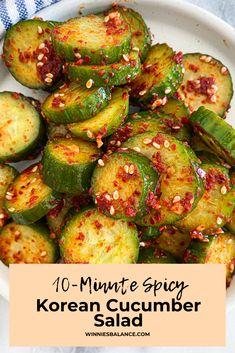 Spicy Cucumber Recipe, Cucumber Recipes, Easy Salad Recipes, Asian Recipes, Healthy Recipes, Ethnic Recipes, Yummy Recipes, Healthy Food, Recipies