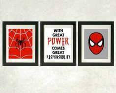 With Great Power Comes Great Responsibility Prints // Spiderman Wall Art // Superhero Art // Set of 3
