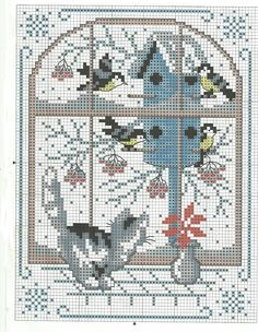 winter cross stitch window kitty cat birds birdhouse snow/ so cute! Cross Stitch House, Cross Stitch Needles, Cross Stitch Bird, Cross Stitch Animals, Cross Stitching, Cross Stitch Embroidery, Embroidery Patterns, Hand Embroidery, Cross Stitch Bookmarks